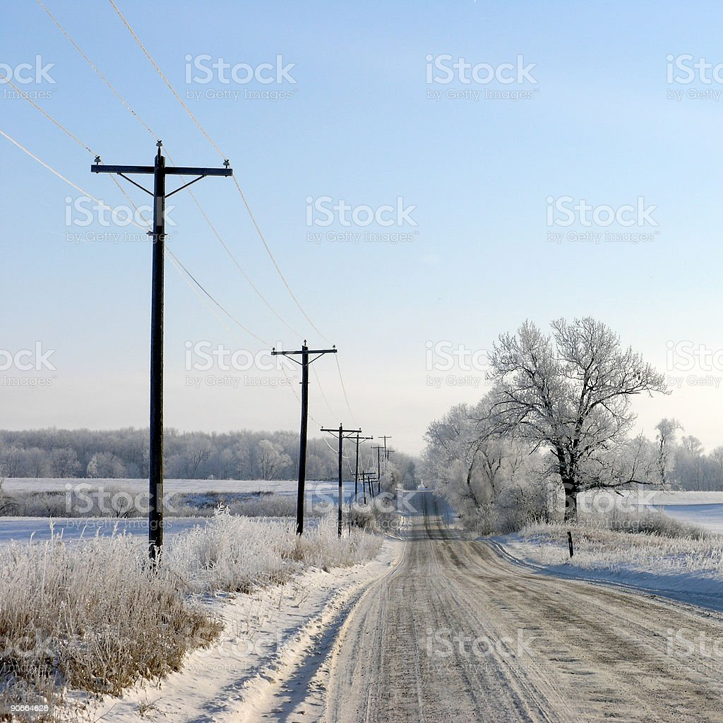 Frosted Rural Route royalty-free stock photo