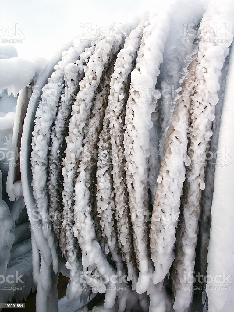 Frosted Ship frozen ropes stock photo
