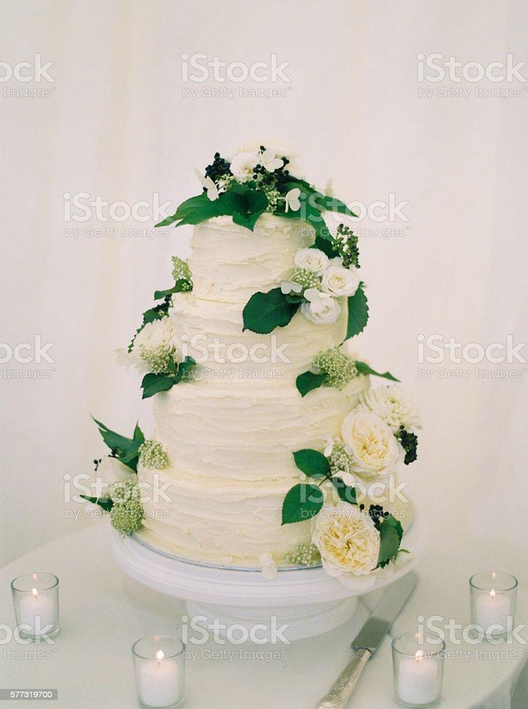 Frosted wedding cake stock photo