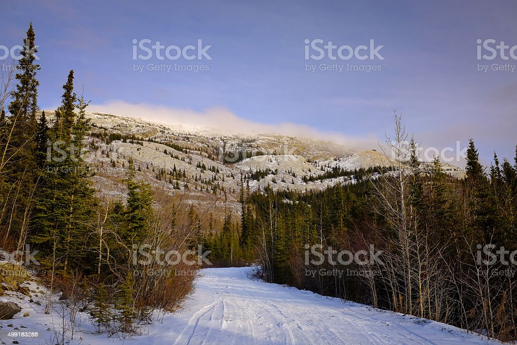 Frosted Winter Mountain Road stock photo