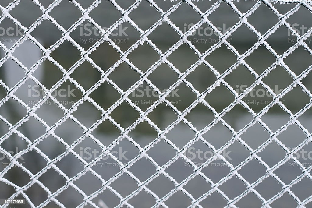 Frosted wire fence stock photo