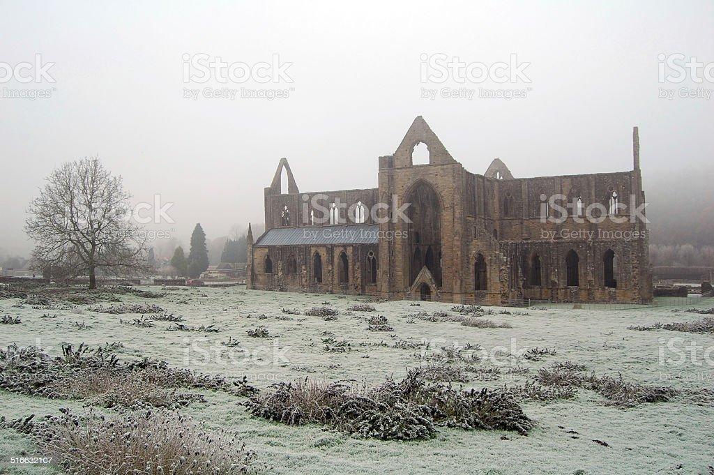 frosty abbey stock photo