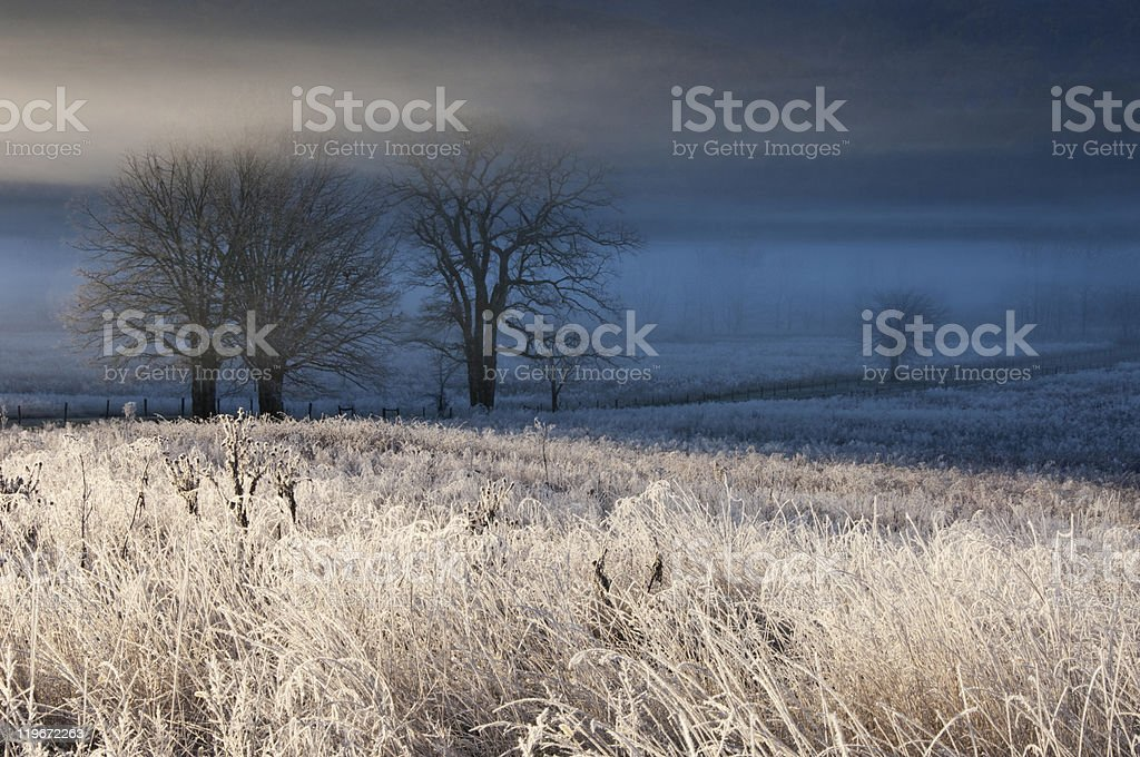 Frosty autumn morning in Cades Cove, Great Smoky Mountains stock photo