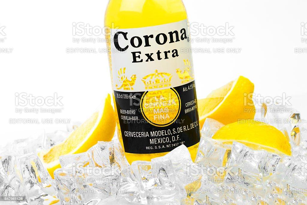 Frosty bottle of Corona Extra beer isolated on white stock photo