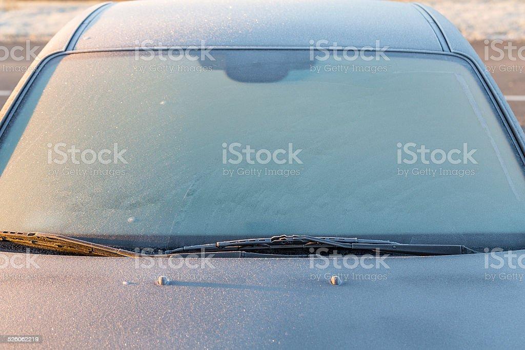 Frosty car stock photo