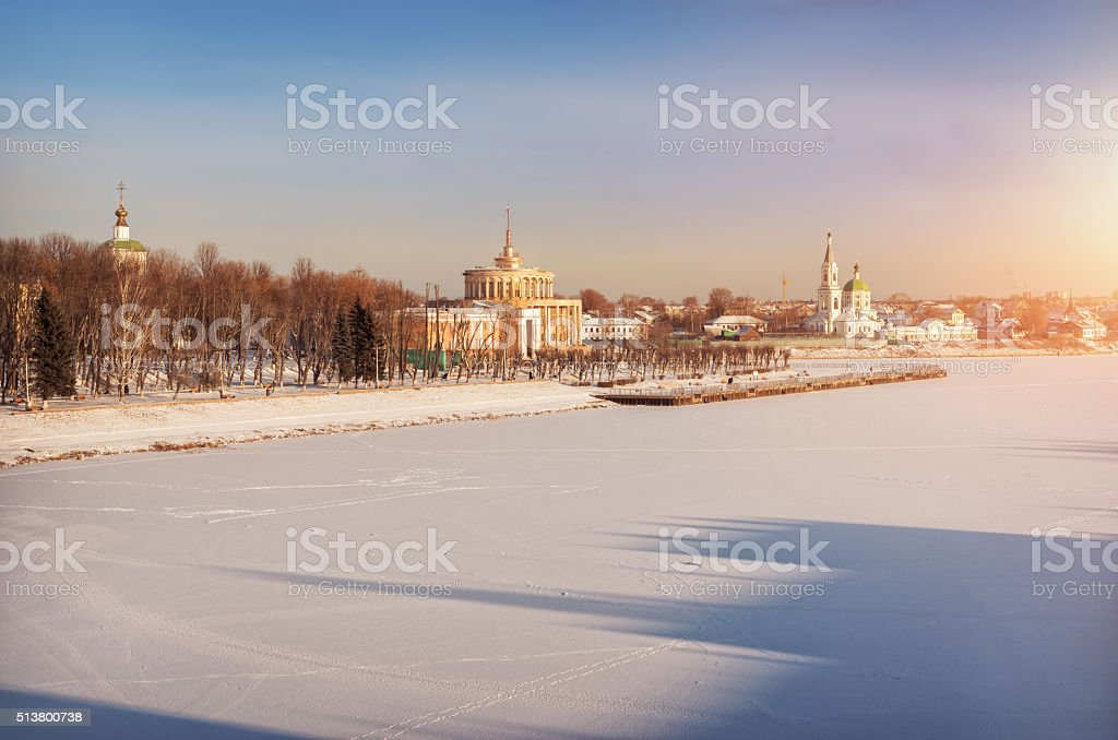 Frosty  city on the river stock photo