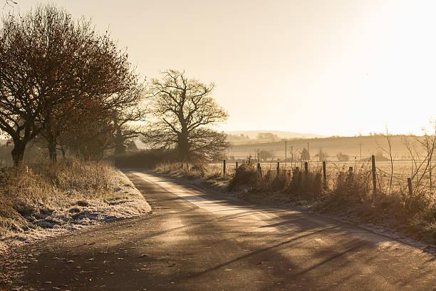 Frosty Countryside Lane stock photo