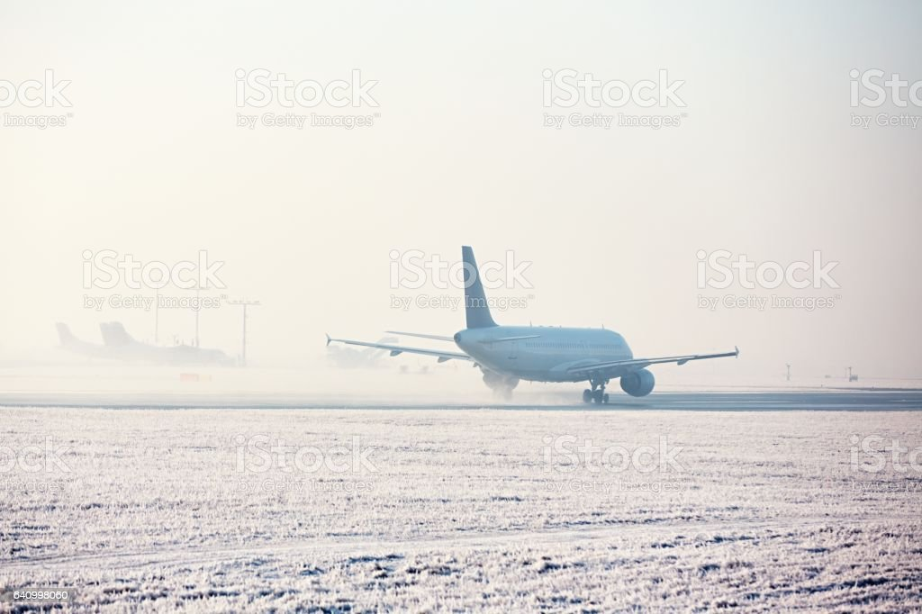 Frosty day at the airport stock photo