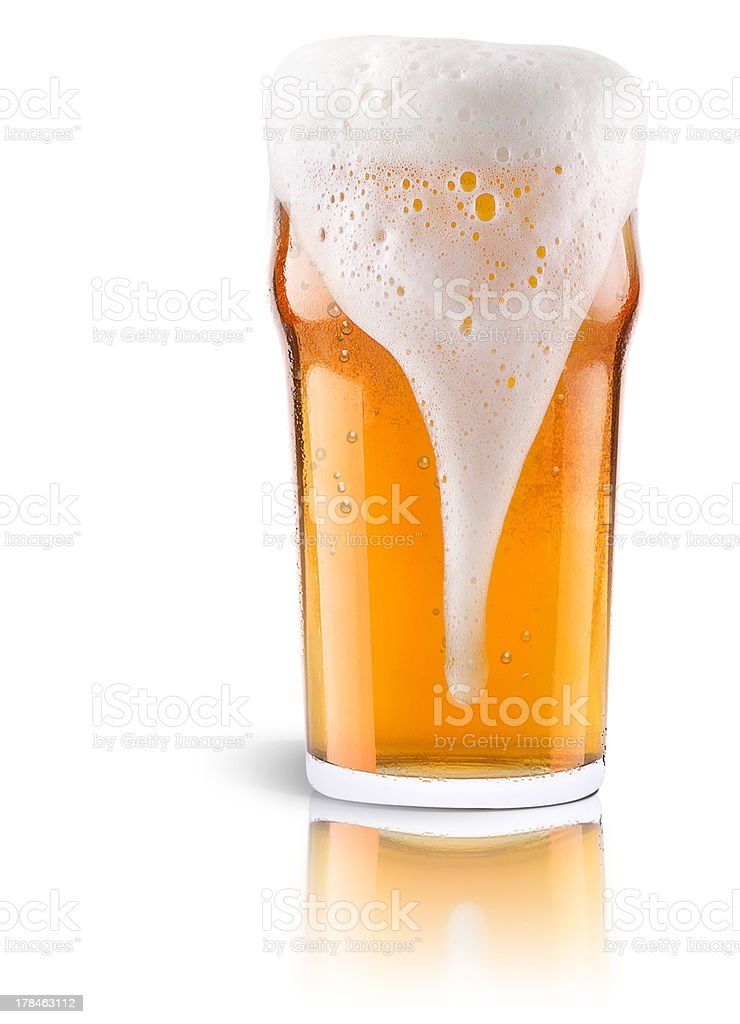 Frosty fresh beer  with foam isolated stock photo