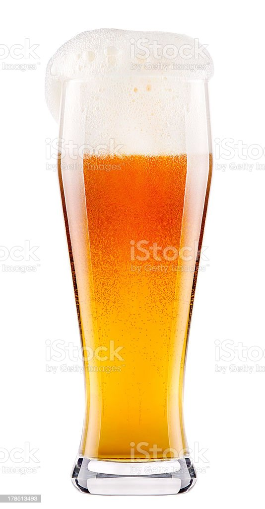 Frosty fresh beer with foam stock photo