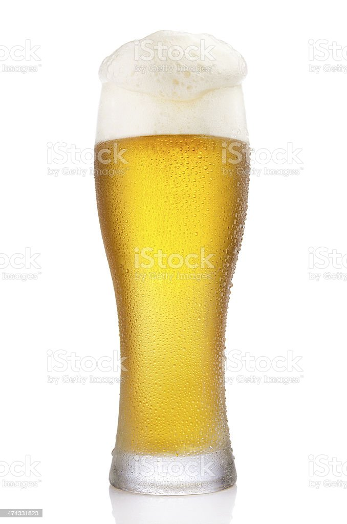 Frosty glass of beer stock photo