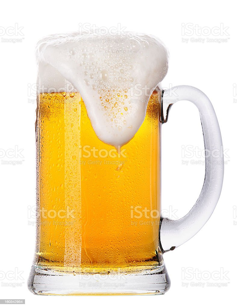 Frosty glass of light beer set isolated stock photo