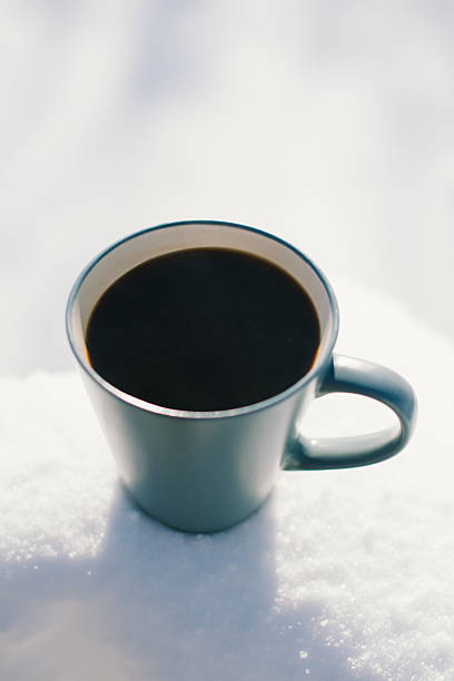 Frosty Morning Cup of Coffee stock photo