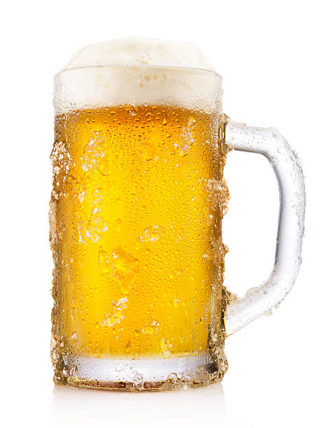 Frosty mug of beer Frosty mug of beer isolated on white background beer glass stock pictures, royalty-free photos & images