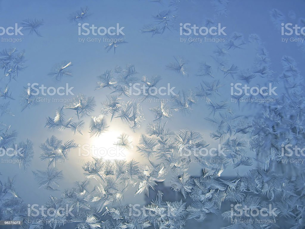 frosty natural pattern and sun royalty-free stock photo
