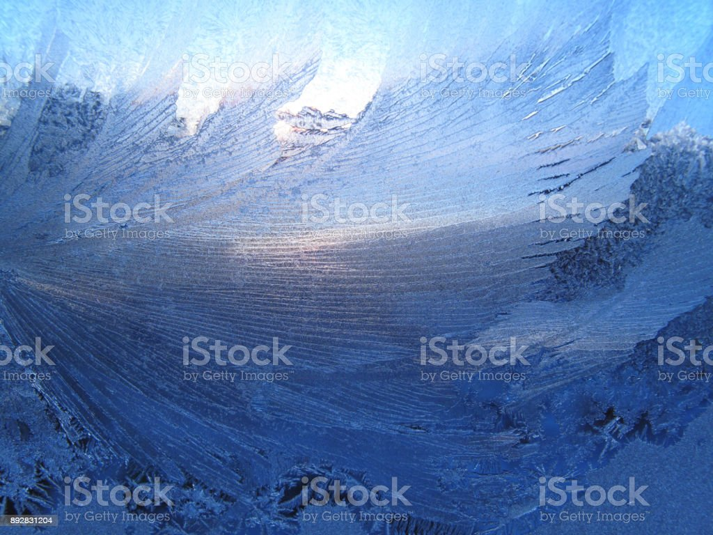 Frosty natural pattern and sunlight stock photo