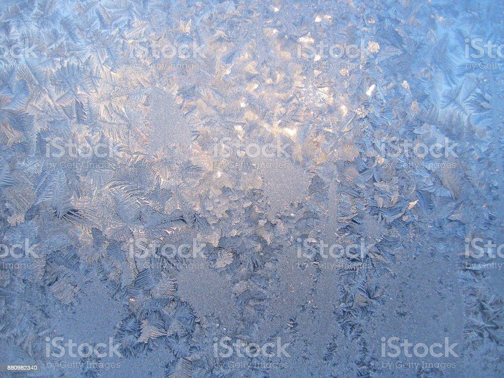 frosty natural pattern on glass stock photo