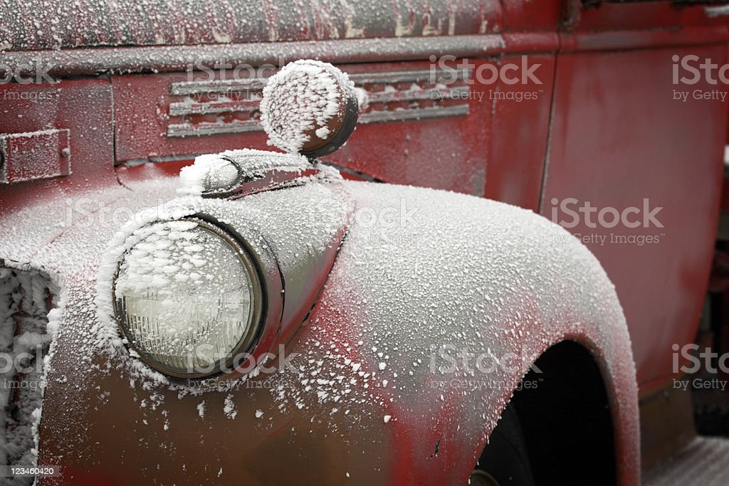 Frosty Old Firetruck Fender royalty-free stock photo