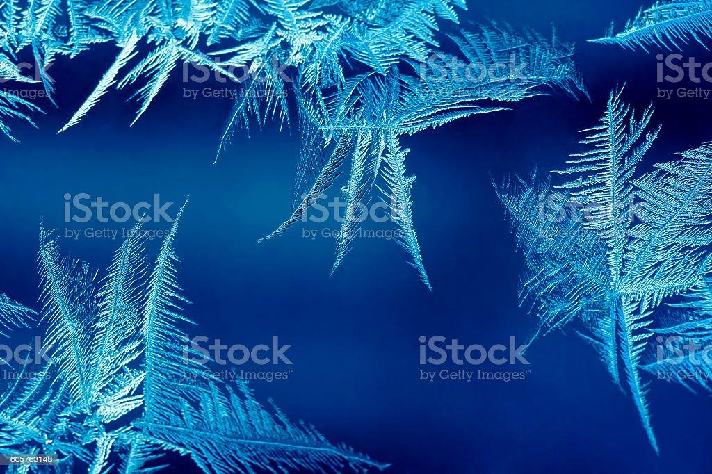 Frosty pattern on a window stock photo