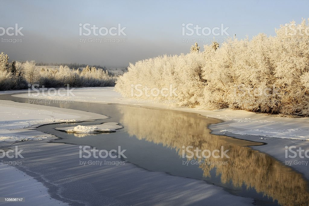 Frosty Yukon River stock photo