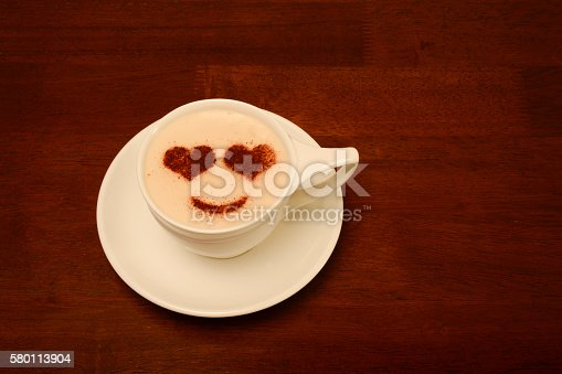 Cup of Coffee with Heart Eyes design on top