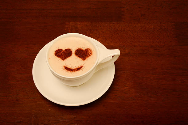 Froth Art with Heart Eyes stock photo