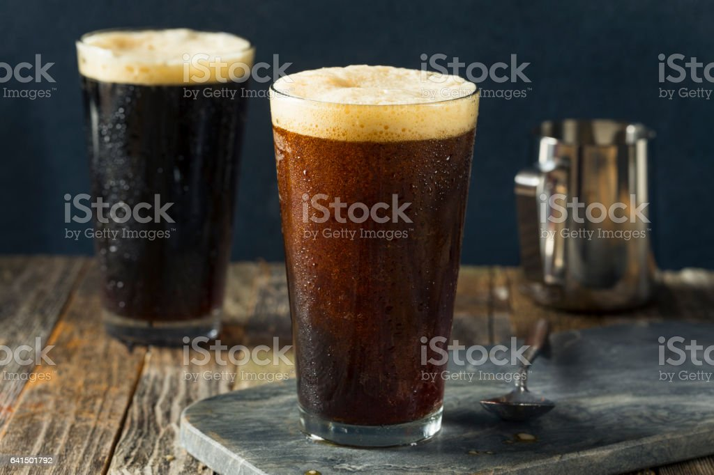 Frothy Nitro Cold Brew Coffee stock photo
