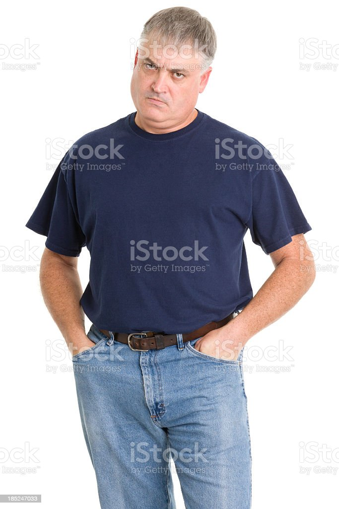 Frowning Angry Man stock photo