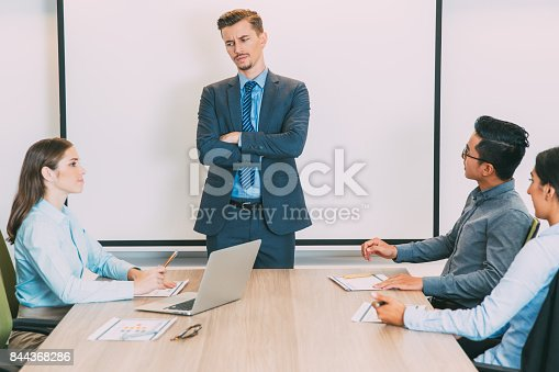 istock Frowning Male Lecturer Dissatisfied with Audience 844368286