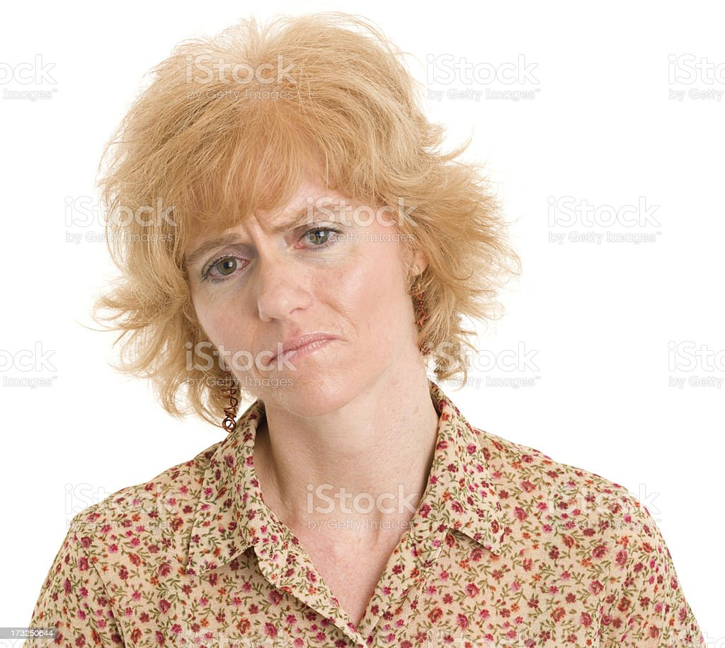 Frowning Mature Woman royalty-free stock photo