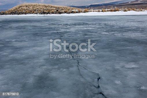 froze cildir lake surface at winter near kars turkey