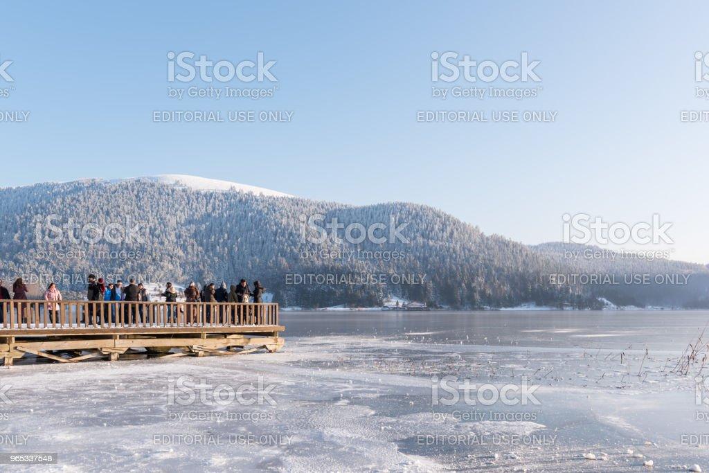 Lac d'Abant gelé dans le Parc National Golcuk à Bolu, Turquie - Photo de Angle libre de droits