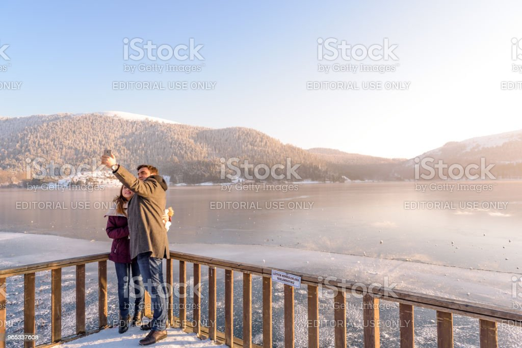 Frozen Abant lake in Golcuk National Park in Bolu,Turkey zbiór zdjęć royalty-free