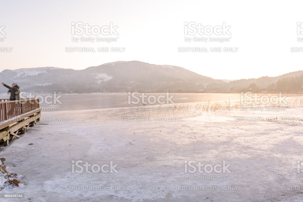 Frozen Abant lake in Golcuk National Park in Bolu,Turkey royalty-free stock photo