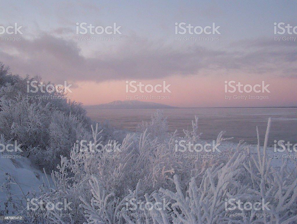 Frozen Alaskan Beach stock photo