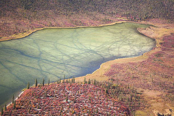 Frozen Alaskan lake stock photo