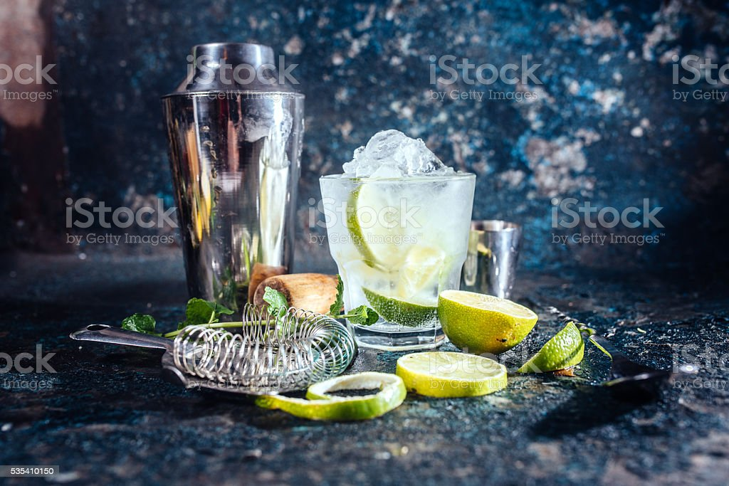 frozen alcoholic cocktail, refreshment drink with vodka stock photo