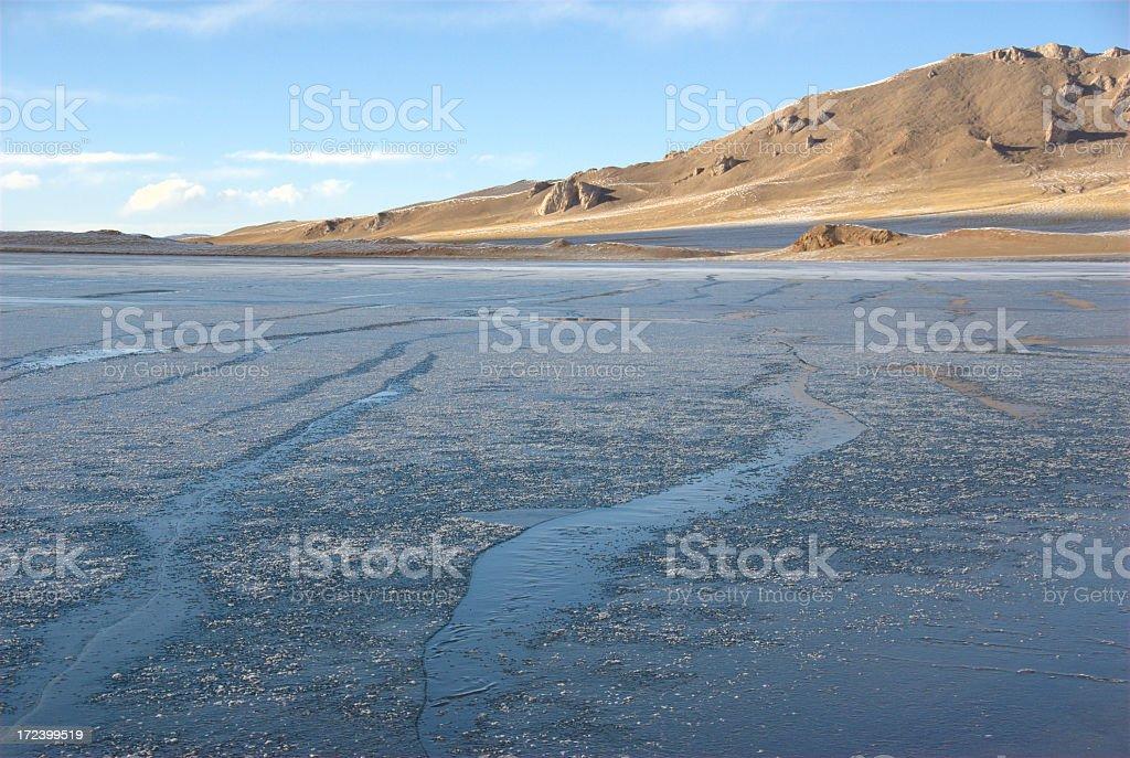 Frozen alpine lake at XinJiang (China). stock photo