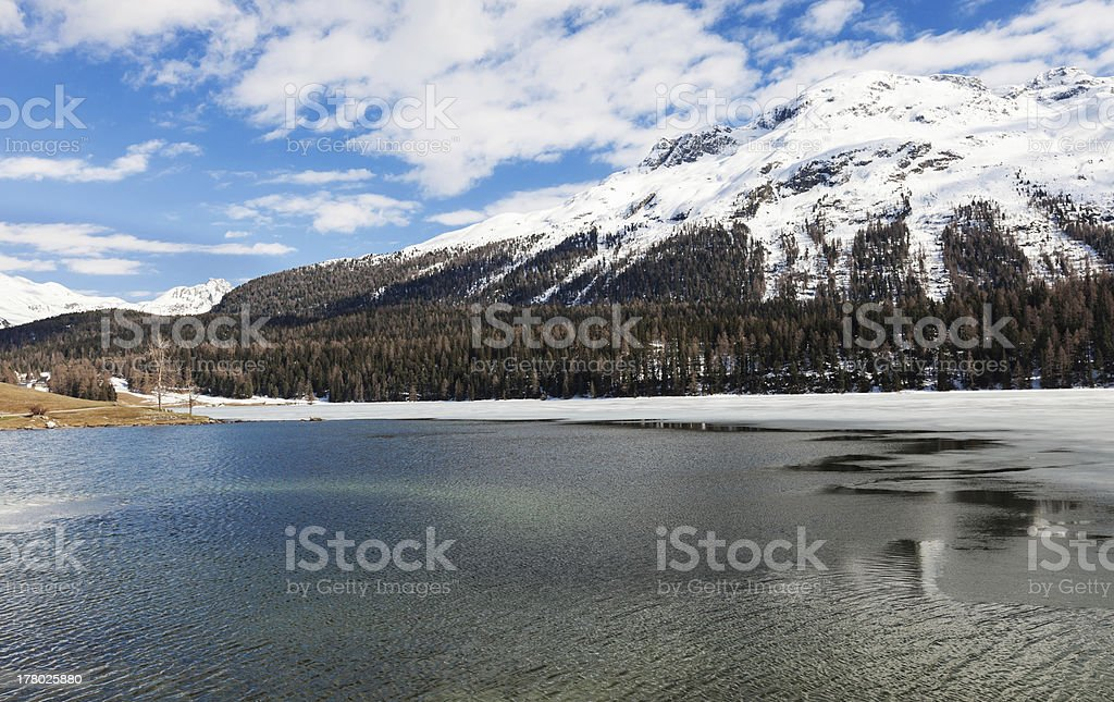 frozen alpine lake royalty-free stock photo