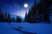 istock frozen and snow covered mountain river at night 1192027765