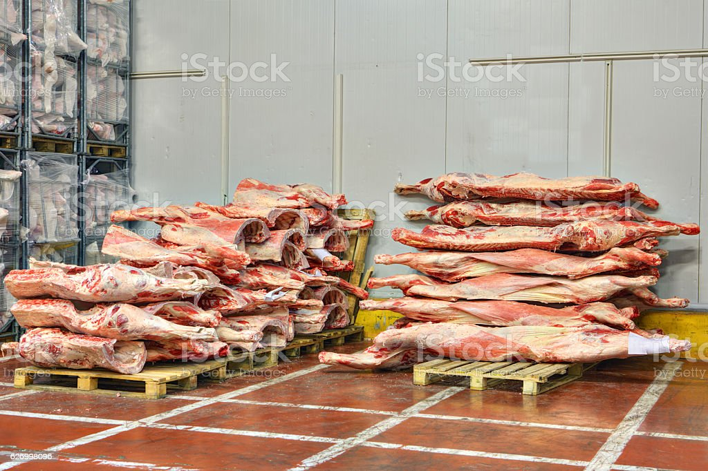 Frozen beef carcasses are stacked on pallets for cold storage. stock photo