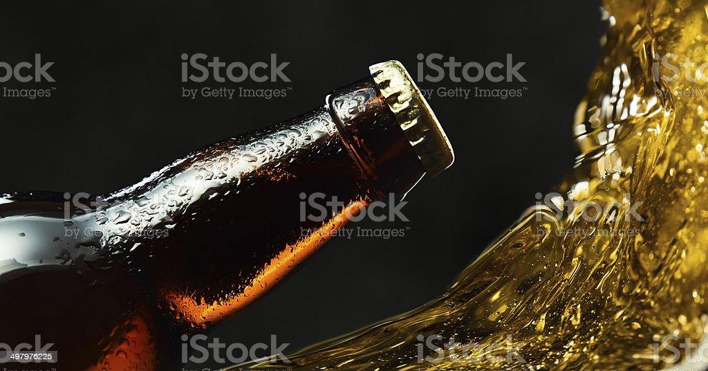 frozen beer bottle stock photo