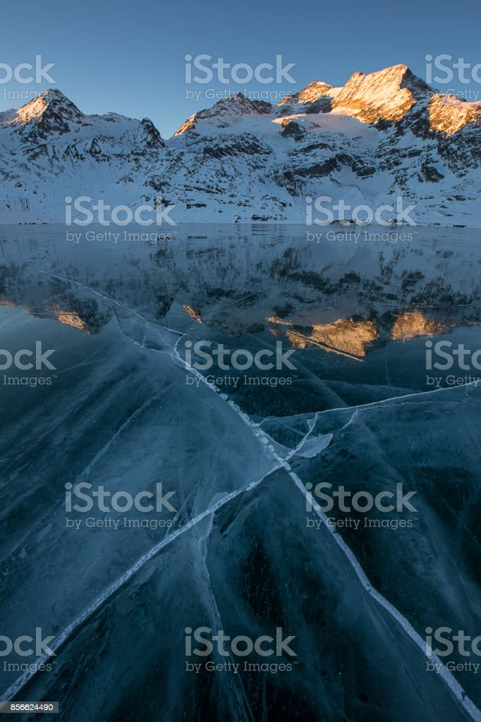 Frozen Berninapass stock photo