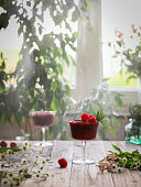Frozen berry Margarita in a cocktail glass decorated with three raspberries and a sprig of rosemary surrounded by flowers on a wooden table on a sunny day, against a blurred background of a window and green plants in a light haze of falling water drops. Tail light.