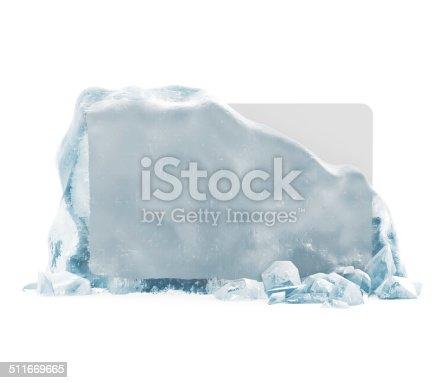 istock Frozen Blank Board in Broken Solid Ice Block 511669665