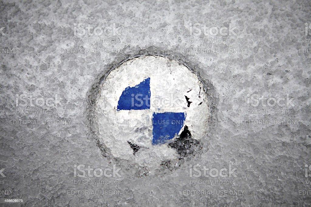 Frozen BMW logo stock photo
