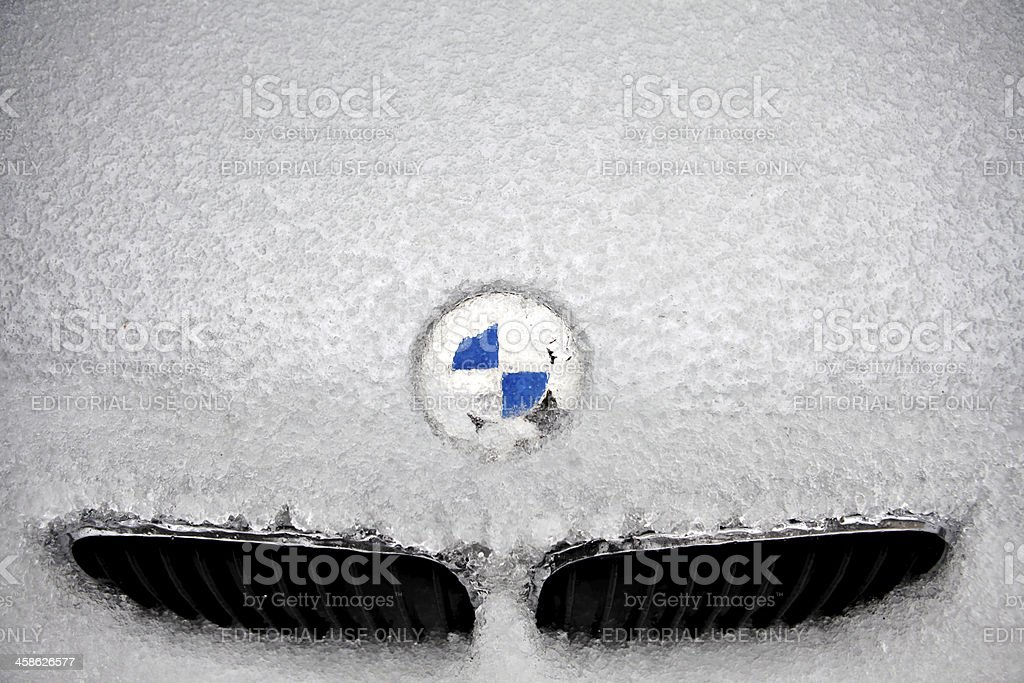 Frozen BMW logo royalty-free stock photo