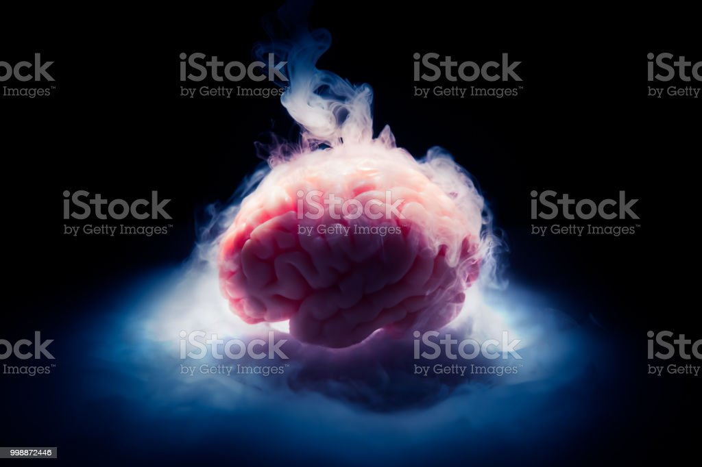 Frozen brain on a dark background / high contrast image stock photo