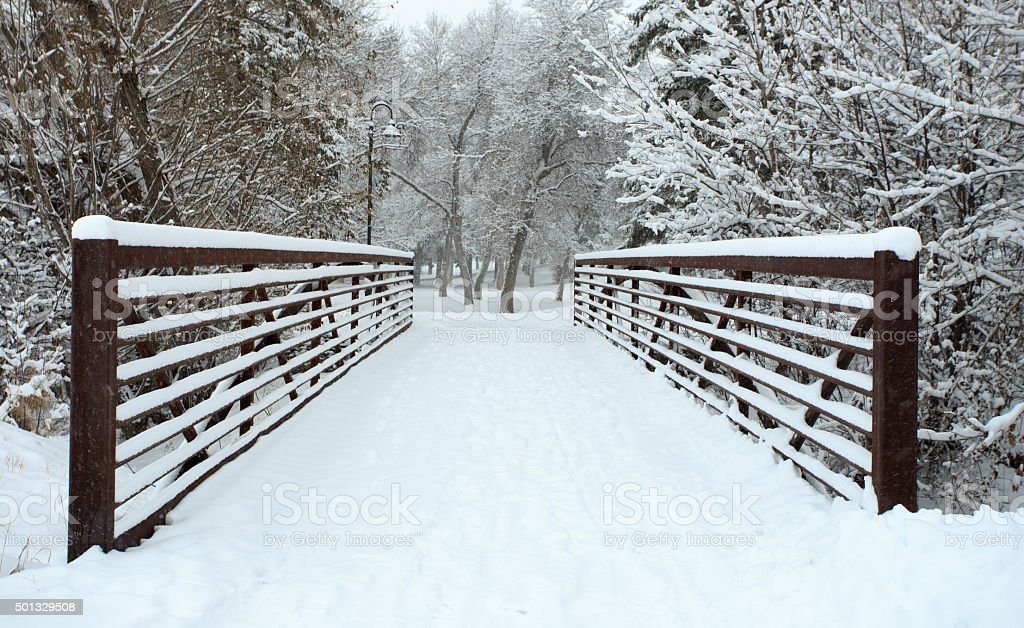 Frozen Bridge stock photo