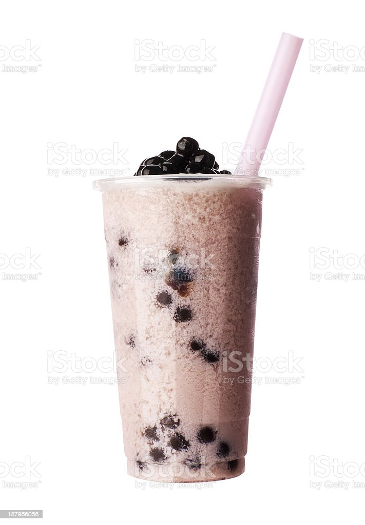 frozen bubble tea with tapioca pearls stock photo
